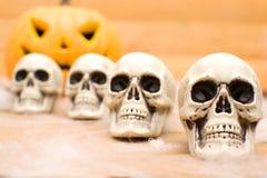 Halloween pumpkin and skulls Royalty Free Stock Photo
