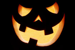 Halloween pumpkin smile on black Royalty Free Stock Images