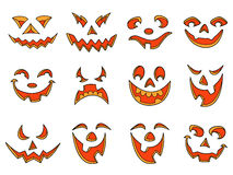 Halloween pumpkin smiles and grimaces Royalty Free Stock Photos