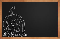 Halloween Pumpkin smiling on a black chalkboard Royalty Free Stock Photo
