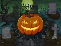 Halloween pumpkin is smiling. On cemetery background Royalty Free Stock Photography