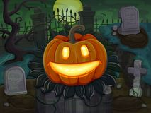 Halloween pumpkin is smiling. On cemetery background Royalty Free Stock Images