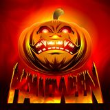 Halloween Pumpkin Smiling Horror Hell Fire Lettering Color. Halloween pumpkin of the background of hellish fire with the lettering title of the holiday Halloween Stock Photos