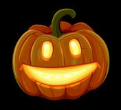 Halloween pumpkin is smiling. Isolated on black background Stock Photography