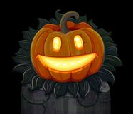 Halloween pumpkin is smiling. Isolated on black background Royalty Free Stock Images