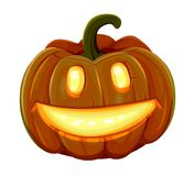 Halloween pumpkin is smiling. Isolated on white background Stock Photos
