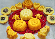 Halloween pumpkin soaps Stock Photo