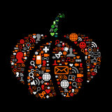 Halloween pumpkin in social media icons. Pumpkin made of social media icons for Halloween. Vector file available Stock Images