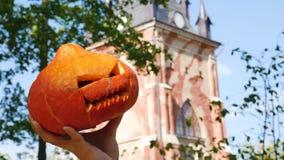 Halloween pumpkin sorcerer festive sorcerer holiday frighten. Face stock video
