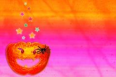 Halloween Pumpkin and Spider Stock Photo
