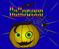 Halloween pumpkin. Halloween, Pumpkin, Spider web, Text, Bat, Spooky, Horror Stock Photo