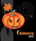 Halloween pumpkin and spiders. Halloween party Royalty Free Stock Photography