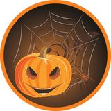 Halloween pumpkin with spiders. Sticker Stock Photos