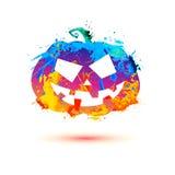 Halloween pumpkin of splash paint. On white background Stock Photo