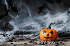 Halloween pumpkin and spooky decoration. Stock Photo