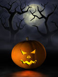 Halloween pumpkin in a spooky forest at night Stock Photos