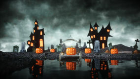 Halloween pumpkin in a spooky graveyard. Hallowenn concept. 3d rendering. Royalty Free Stock Photo