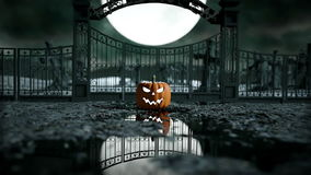 Halloween pumpkin in a spooky graveyard. Horror night. Hallowenn concept. realistic animation stock footage