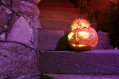 Halloween pumpkin on the stairs Stock Images