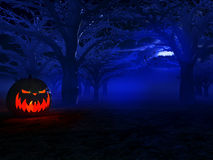Halloween. Pumpkin standing in a dark forest stock illustration