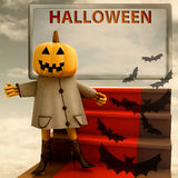 Halloween pumpkin standing on red carpet template Royalty Free Stock Photos