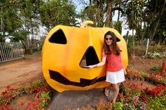 Halloween Pumpkin statue on grass in farm Stock Photos