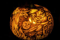 Halloween Pumpkin Statue Lantern of Vincent Van Gogh Star. Which is one of his famous picture royalty free stock image