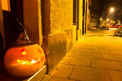 Halloween pumpkin in the street. Royalty Free Stock Photography