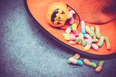 Halloween. Pumpkin with sweet candy Royalty Free Stock Photo