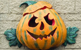 Halloween pumpkin. Symbol on the facade Royalty Free Stock Image