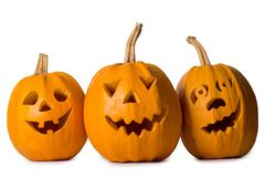 Halloween pumpkin, three funny face isolated on white background.  Royalty Free Stock Photos