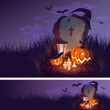 Halloween pumpkin and a tombstone on the night sky background, illustration. Stock Images