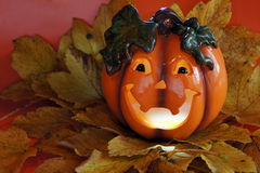 Halloween pumpkin. With a toothy smile royalty free stock photo