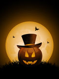 Halloween pumpkin and top hat Stock Photos