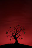 Halloween pumpkin tree background on red. Background of pumpkin tree and bats on red Royalty Free Stock Photography