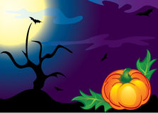 Halloween pumpkin, trees and bats. Royalty Free Stock Photos