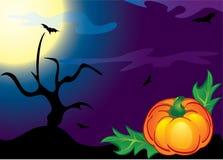 Halloween pumpkin, trees and bats. Halloween pumpkin, trees and bats on the moon and night sky clouds Royalty Free Stock Photos