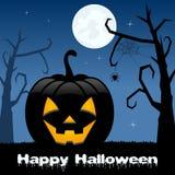 Halloween Pumpkin, Trees & Full Moon Stock Photo