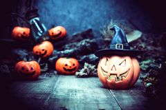 Halloween. Pumpkin, trick or treat in autumn season Stock Photos