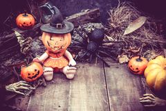 Halloween. Pumpkin, trick or treat in autumn season Stock Images