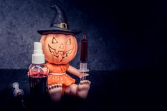 Halloween. Pumpkin, trick or treat in dark night Stock Image