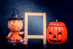 Halloween. Pumpkin, trick or treat with frame and copy space Royalty Free Stock Photos