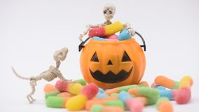 Halloween scene. Halloween pumpkin, trick or treat with sweet candy stock footage