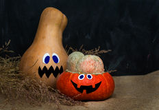 Halloween pumpkin. Two different pampkins, unusial shapes Stock Images