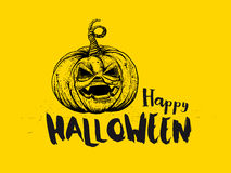 Halloween Pumpkin and typography Stock Photos