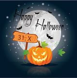 Halloween pumpkin under the moonlight. Vector illustration Royalty Free Stock Image