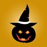 Halloween pumpkin under witch's hat vector. Halloween pumpkin under witch's hat Royalty Free Stock Photos