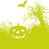 Halloween pumpkin in the undergrowth Royalty Free Stock Photo