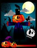 Halloween pumpkin vector. At night background Royalty Free Stock Photos