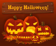 Halloween pumpkin vector background. Scary horror design poster design. Royalty Free Stock Images